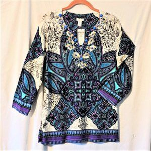 GRAND STATEMENT BEADED V-NECK TUNIC - NEW COND